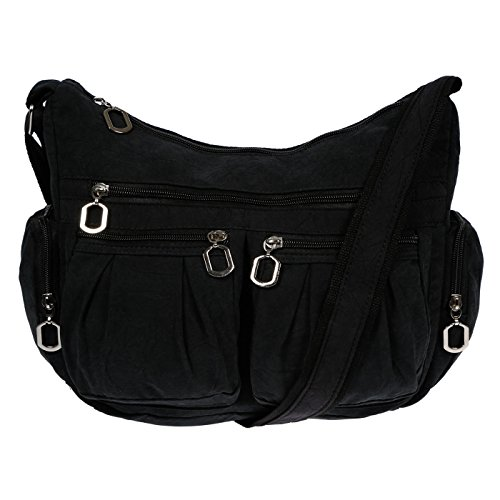 Christian Wippermann® - Bolso al hombro para mujer gris gris claro 31x24x11 cm negro