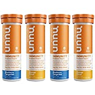 Nuun Immunity: Antioxidant Immune Support Hydration Supplement with Vitamin C, Zinc, Turmeric, Elderberry, Ginger, Echinacea, and Electrolytes. Blueberry Tangerine+Orange Citrus, 4 tubes (40 servings)