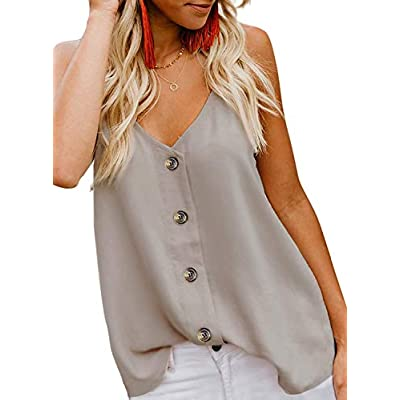jonivey Women's Button Down V Neck Strappy Cami Tank Tops Casual Sleeveless Blouses Vest at Women's Clothing store