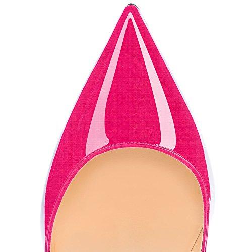 ELASHE Escarpins Femmes Chaussures Stiletto 12cm Talon Aiguille Grande Taille Laçage 2#Rose NcGbfmZiUG