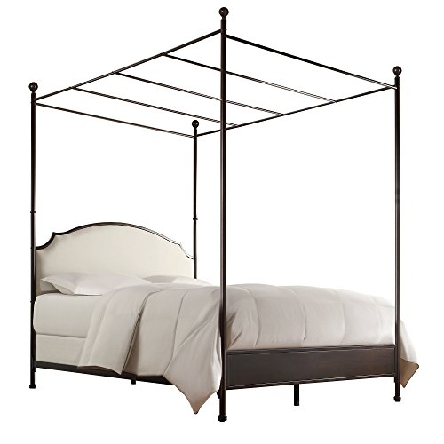 Transitional Modern Metal Canopy Bed Frame with Beige Upholstery Headboard in Cherry Brown Finish - Includes Modhaus Living Pen (Queen)