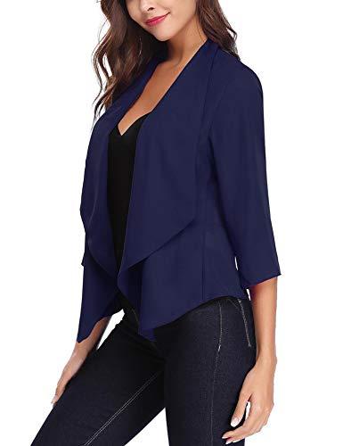 (Abollria Women's Lightweight Chiffon Ruched Sleeve Open Front Blazer Navy Blue)