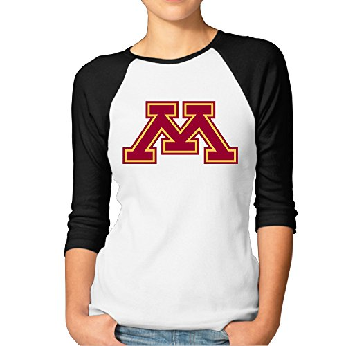Hotgirl4 Women University Of Minnesota M Raglan Tri-Blend Sleeve Color Black Size (Minnesota Golden Gophers Womens Basketball)