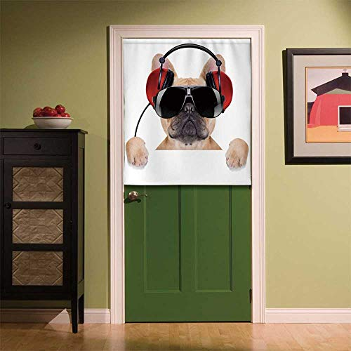 YOLIYANA Popstar Party Fabric Art Door Curtain,Dj Bulldog with Headphones Listening to Music Behind White Banner for Locker Room Store Privacy Space,35.43''W x 39.37''H