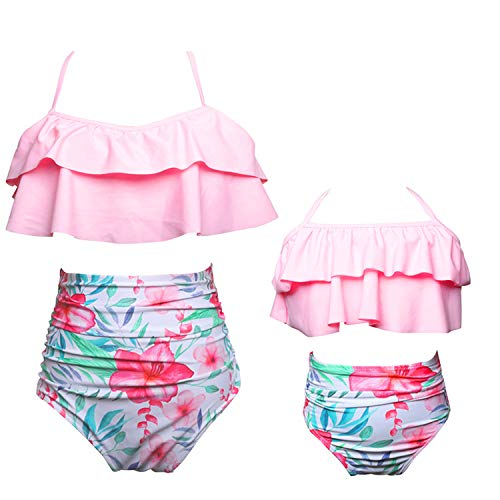 (CHARMCZ 2 Pcs Girls Women Bikini Swimsuit High Waist Ruffle Halter Bathing Suit Mother Daughter Swimwear (Women/US(16-18) XL, Women-Pink) )