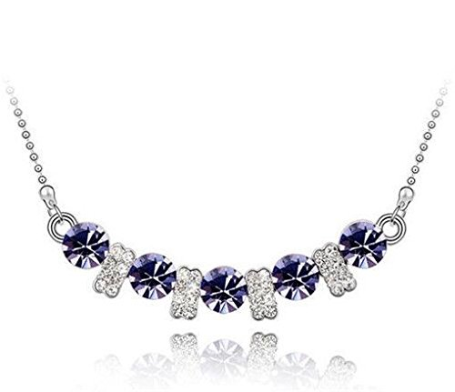 Fashion Womens Purple Crystal Rhinestone Silver Chain Pendant Necklace New -