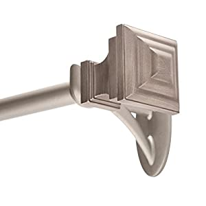 """Kenney 5/8"""" Fast Fit Milton Easy Install Curtain Rod, Pewter, 66""""-120"""""""