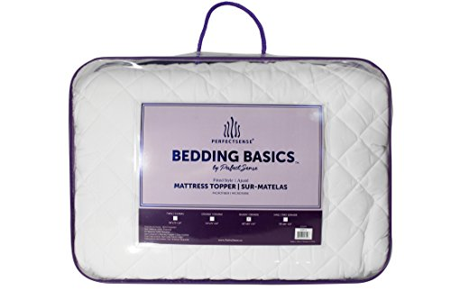Mattress Pad PerfectSense Basics Luxury Soft Breathable Hypoallergenic Quilted Down Alternative Double Fill Deep Pocket Fitted Style Secure Fit All Season & Machine Washable - White, ()