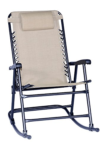 Dura Housewares 12349 Arlington Rex Waterproof Folding Rocking Chair, Beige Sling-Tex Fabric