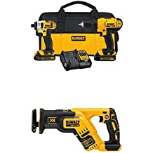 DCK240C2 20v Lithium Drill Driver/Impact Combo Kit (1.3Ah) with 20V Max XR Brushless Compact Reciprocating Saw