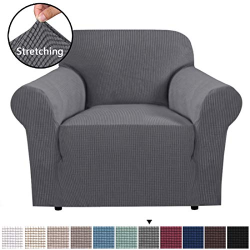 H.VERSAILTEX Stretch Chair Slipcover Sofa Cover Furniture Protector Cover Luxury Lycra High Spandex Small Checks Knitted Jacquard Sofa Cover Chair Covers for Living Room (Chair-1 Seater, Grey) (And Room Living Chairs Sofas)