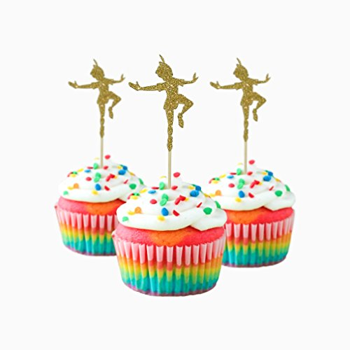 Peter Pan inspired toppers Party Wedding Birthday Cupcake Topper cardstock Color Gold 12 pc Pack Decoration ()