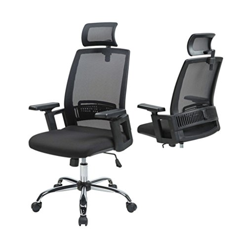 Ergonomic High Back Office Mesh Chair Comfortable Headrest Lumbar Support 360 Degree Swivel Home Office Gaming Desk Task - Gold Shops Coast Airport