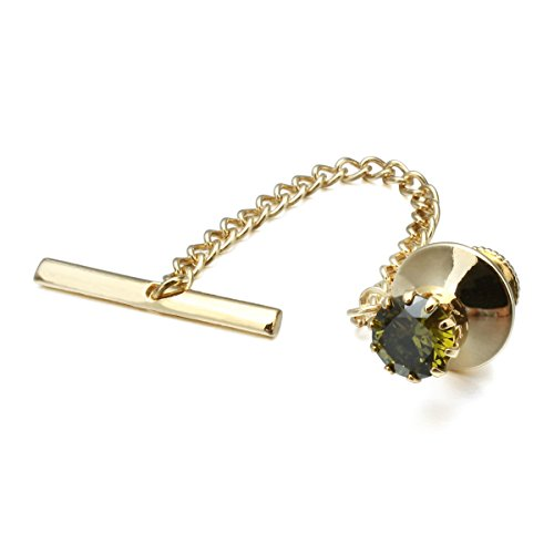 HAWSON Mens Crystal Tie Tack with Chain Gold Tie Clip Party Accessories Green