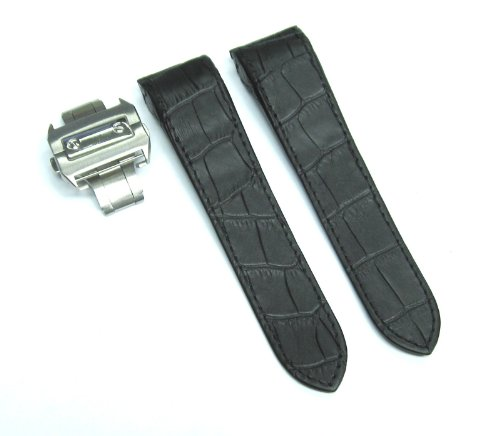 Complete 24.5 Leather Strap Band for Cartier Santos Chrono Blk by EWP