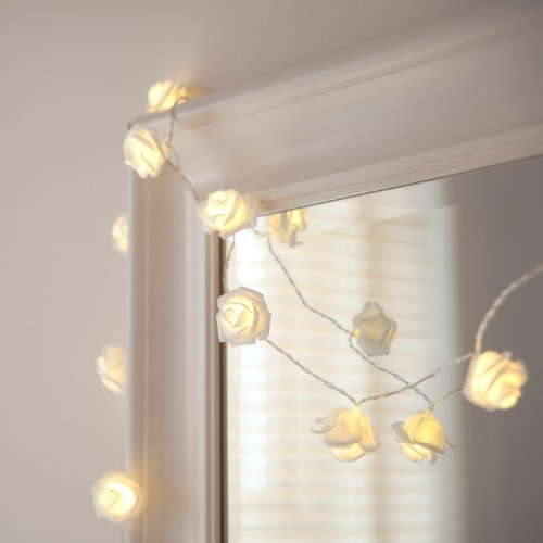 Built In Auto Timer Led Warm White Rose Flower Fairy String Lights   Feet Clear Cable Battery Powered For Valentines Wedding Bedroom