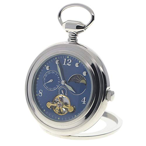 Tourbillon Mechanical Pocket Watch Skeleton Moon Phase Silver Open Face Luminous Hands P299 by watchvshop