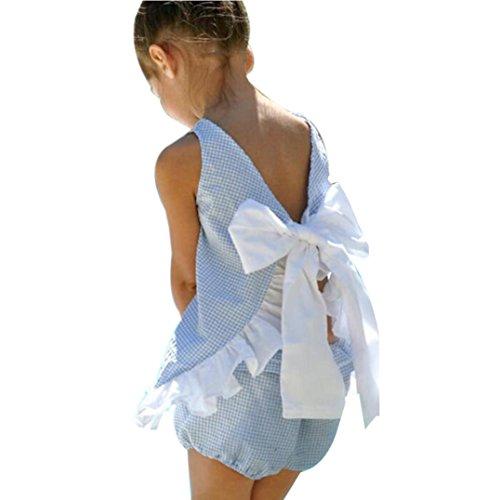 Ruffle Trim Jersey Top (Sunward Summer Toddler Kids Baby Girl Plaid Cute Bow Ruffle Trim 2 Piece Pant Set (2T, Blue))