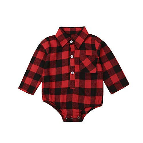 Baby Christmas Clothes Baby Boy Girl Long Sleeve Plaid Rompers Bodysuits Blouses Style Romper Jumpsuits One-Piece Outfits Clothes (Red Black, 3-6 Months)