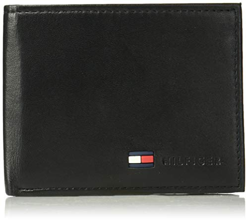 Tommy Hilfiger Men's Leather Wallet - Bifold Trifold Hybrid Flip Pocket Extra Capacity Casual Slim Thin for Travel,Black (Tommy Hilfiger Carteras Women)