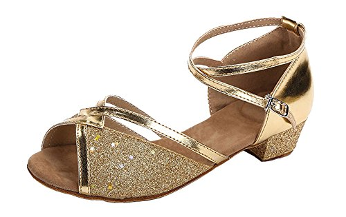 staychicfashion Girls Soft-Soled Glittering Latin Ballroom Dance Shoes with Leather Strap(13, Gold/Gold)