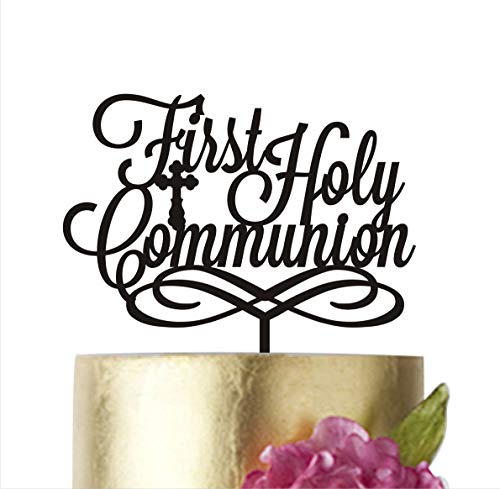 First Holy Communion Cake Topper Baby Baptism Acrylic Religious Centerpieces Girl Boy Cake toppers Gold Silver Cake Decorations Christening (Gold, 6 in)