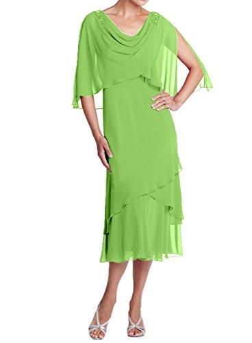 Charmant Brautmutterkleider Kurzes Partykleider Chiffon Abendkleider Gruen Damen Apfel Promkleider Stola mit Neu 2018 AAxpqUf