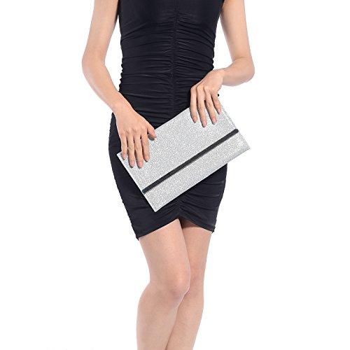 CLE DE TOUS-Bolso de Mano con Pupurina para Mujer Clutch Brillo para Boda Bolso de Fiesta Buen Regalo para Amiga Cartera de Mano Color Plateado