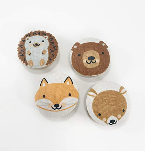 - Woodland Friends Fabric Covered Drawer Knob Pulls Set of 4 / Cabinet/Nursery/Wood/Handles/Room Decor/Furniture Accessories/Kid's Room/Forest