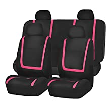 FH Group FB032PINK114 Pink Unique Flat Cloth Car Seat Cover (w. 4 Detachable Headrests and Solid Bench)