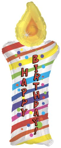 Happy Birthday Candle Shape Balloon (34 Inch Mylar) Pkg/1