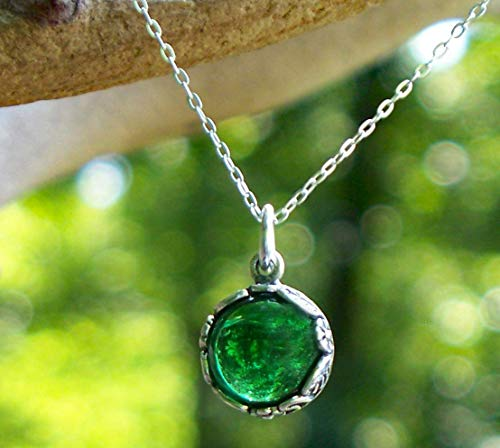 Recycled Vintage 1960's Green Beer Bottle Glass and Sterling Silver Botanical Collection Necklace