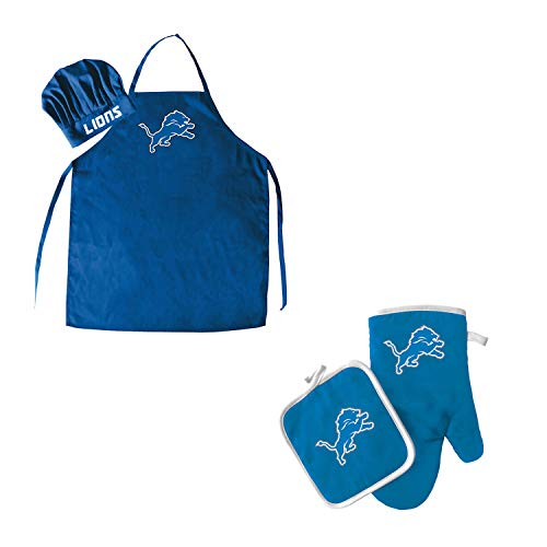 NFL Detroit Lions Team Logo Barbeque Apron, Chef's Hat and Pot Holder Deluxe ()