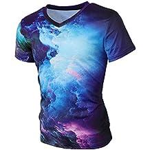 Leapparel Unisex Cool Designed 3d Printed V Neck Short Sleeve T Shirts Tees