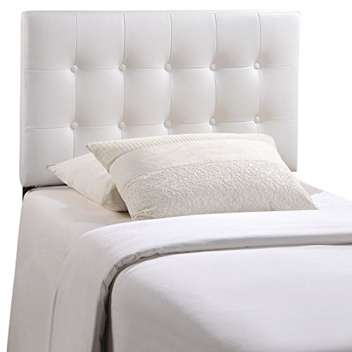 (Modway Emily Tufted Button Faux Leather Upholstered Twin Headboard in White)