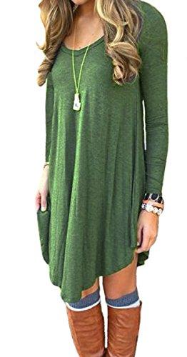 Women%27s+Irregular+Hem+Long+Sleeve+Casual+T+Shirt+Flowy+Shift+Dress+Army+Green+M