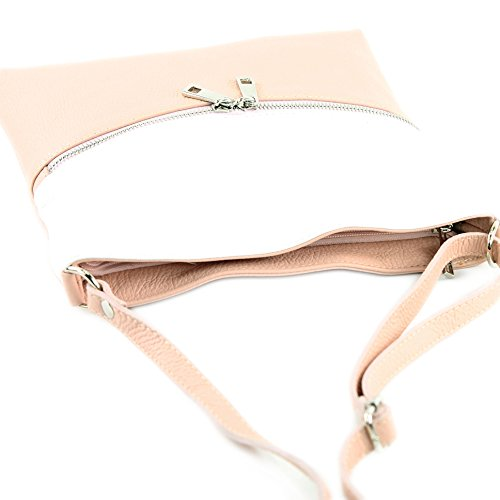 Modamoda Weiß Bag Bag ital Rosabeige Leather T144 Leather Shoulder de Crossover Shoulder Bag Ladies rqOztwr