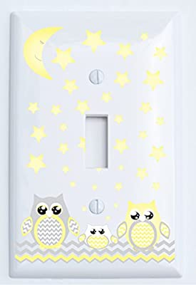 Grey and Yellow Owl Light Switch Plate and Outlet Cover / Owl Nursery Decor