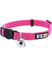 Pawtitas Pet Reflective Cat Collar with Safety Buckle and Removable Bell Pink