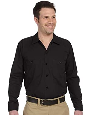 Men's Mitered Pockets Industrial Poplin Work Shirt, BLACK, X-Large
