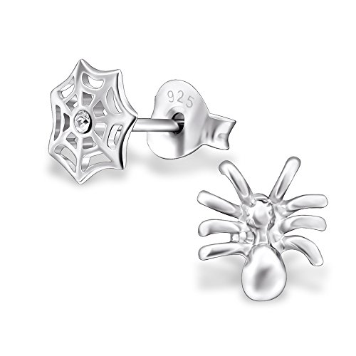 Wholesale Spider - Sterling Silver Spider & Web Wholesale Stud Earrings Set With Gift Box