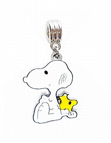 SNOOPY AND WOODSTOCK BUDDIES PEANUTS CHARM SLIDER PENDANT ADD TO YOUR NECKLACE EUROPEAN BRACELET DIY PROJECTS ETC