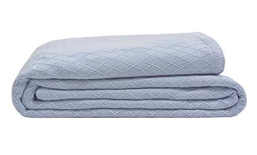 (Elite Home Diamond Weave Bamboo & Cotton Super-Soft Blend Blanket, Full/Queen, 90x90, Blue Mist)