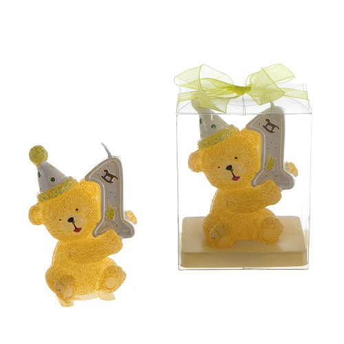 Lunaura Baby Keepsake - Set of 12 Teddy Bear 1st Birthday Candle Teddy Bear Candles