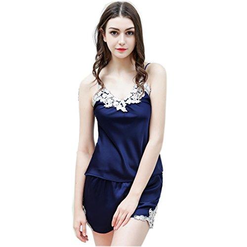 Mujer atractiva de la ropa interior de encaje del camis¨®n pijama con encanto Azul marino