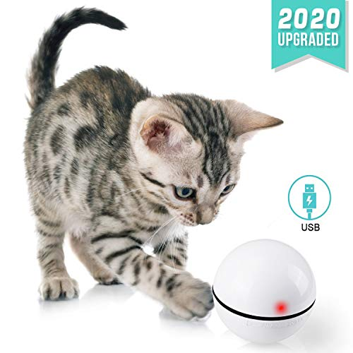Smart Interactive Cat Toy Ball USB Rechargeable Pet Toys with Build-in Spinning Led Light, 360° Automatic Rolling with…