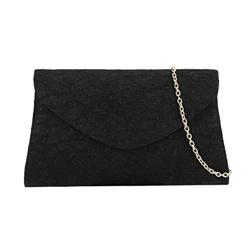 Charming Tailor Classic Lace Clutch Purse Formal Handbag Evening Bag for Prom/Wedding (Black)