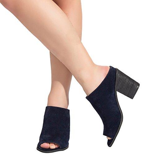 (Luoika Women's Wide Width Heel Pump - Mid Block Heel Open Toe Shoes.(Blue,180305,Size9))