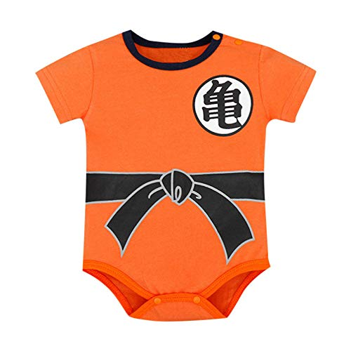 Zlolia Newborn Baby Boys Kids Cartoon Cos Dragon Ball Print Romper Cotton Patchwork Bodysuit Short Pajamas -