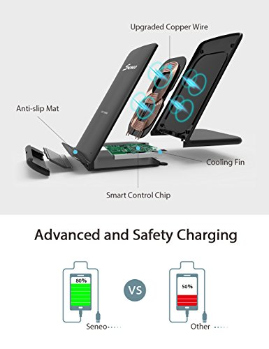 Wireless Charger, Seneo Qi Certified 10W Fast Wireless Charger Stand for Galaxy S9/S9+ Note 8/5 S8/S8+ S7/S7 Edge S6 Edge+, 7.5W Fast Wireless Charging Pad Stand for iPhone X/8/8+(with QC 3.0 Adapter) by Seneo (Image #3)